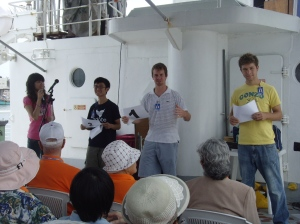 Sharing my Testimony with Visitors onboard the Ship